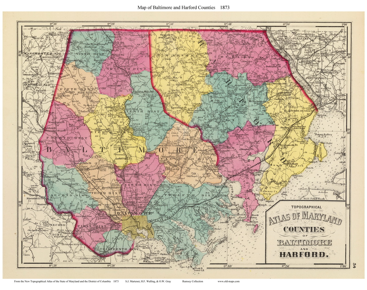 1873 Atlas of Maryland - County Maps on