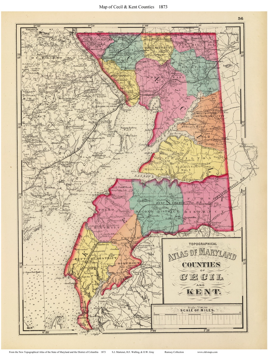 1873 Maryland Atlas Cecil County u0026 Maryland