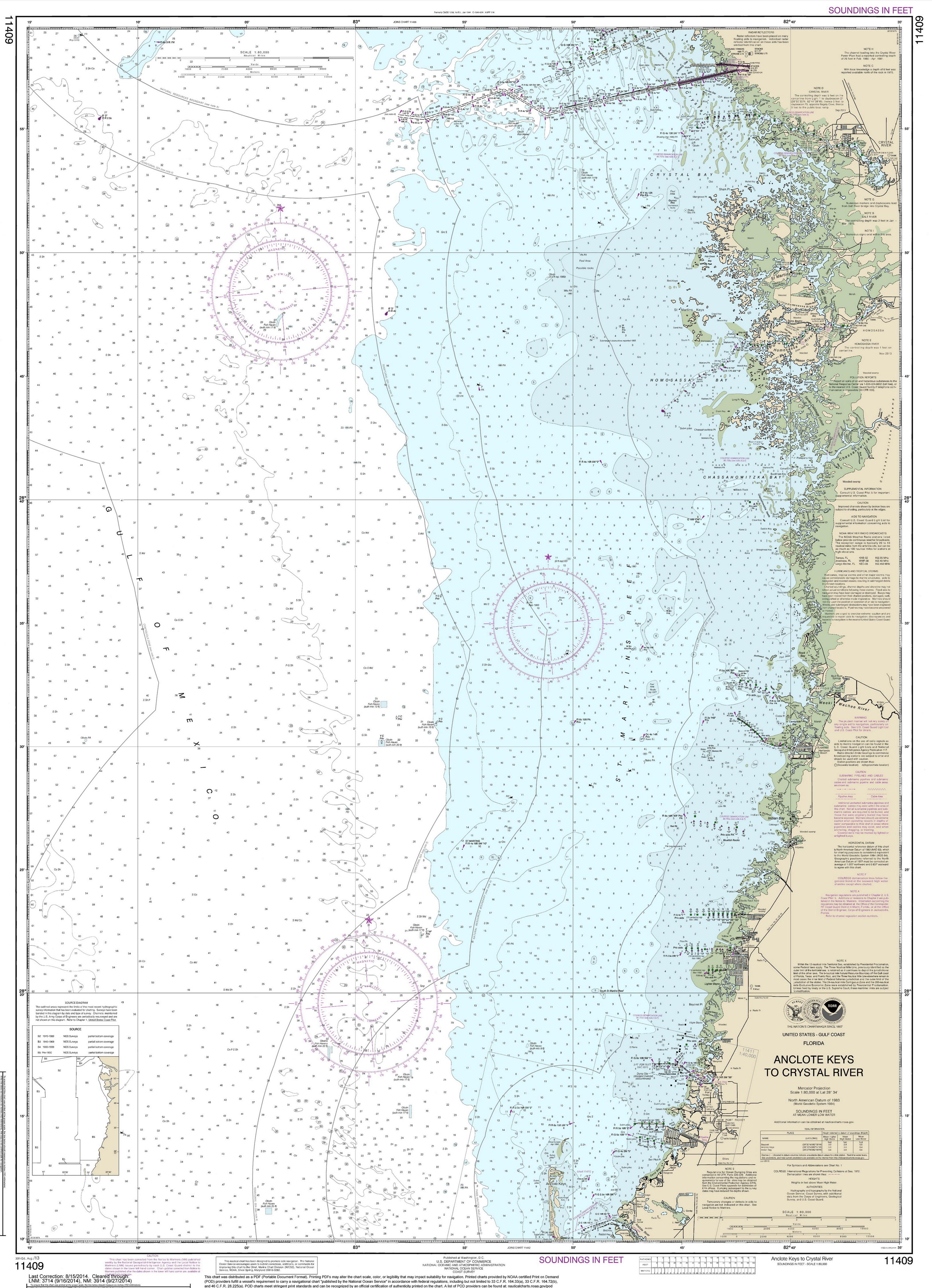Modern Nautical Maps Of Florida  Scale Nautical Charts - Florida map crystal river