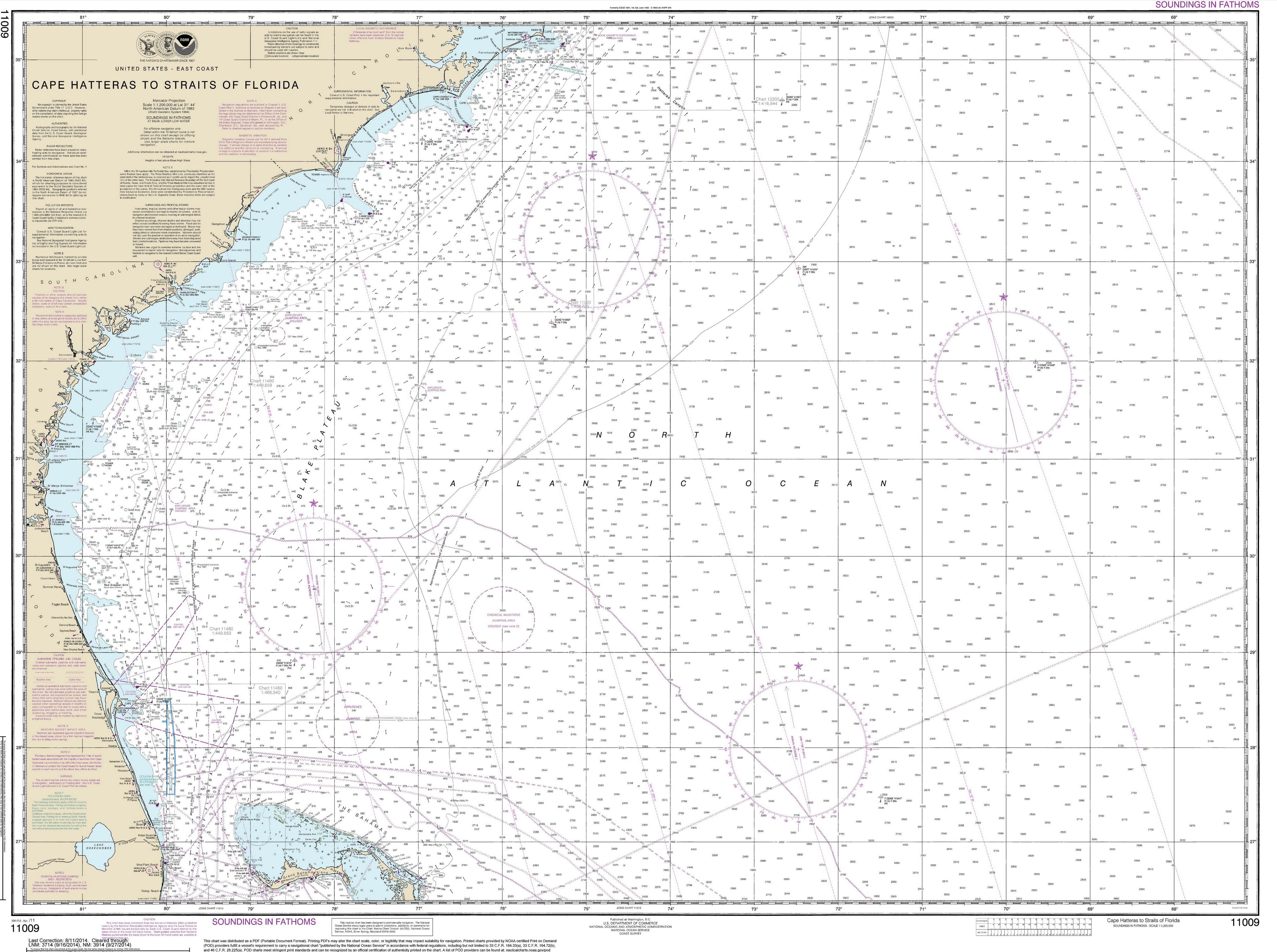 Cape Hatteras To Straits Of Florida Chart 11009 Original Size 36 X 48 50 24 X 32 30 18 X 24 20