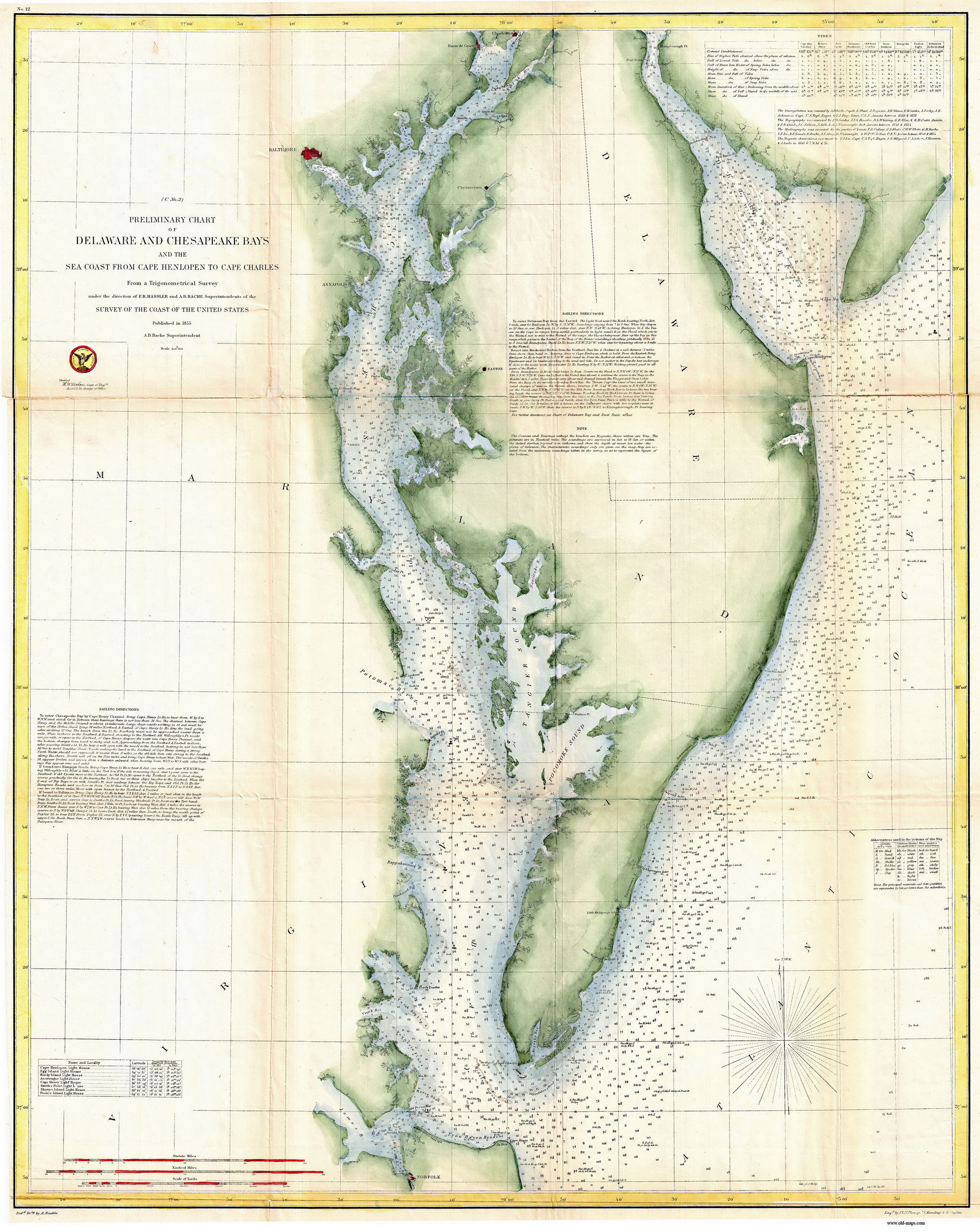 Historical Nautical Charts Of The Chesapeake And Delaware Bays - Us map with bays