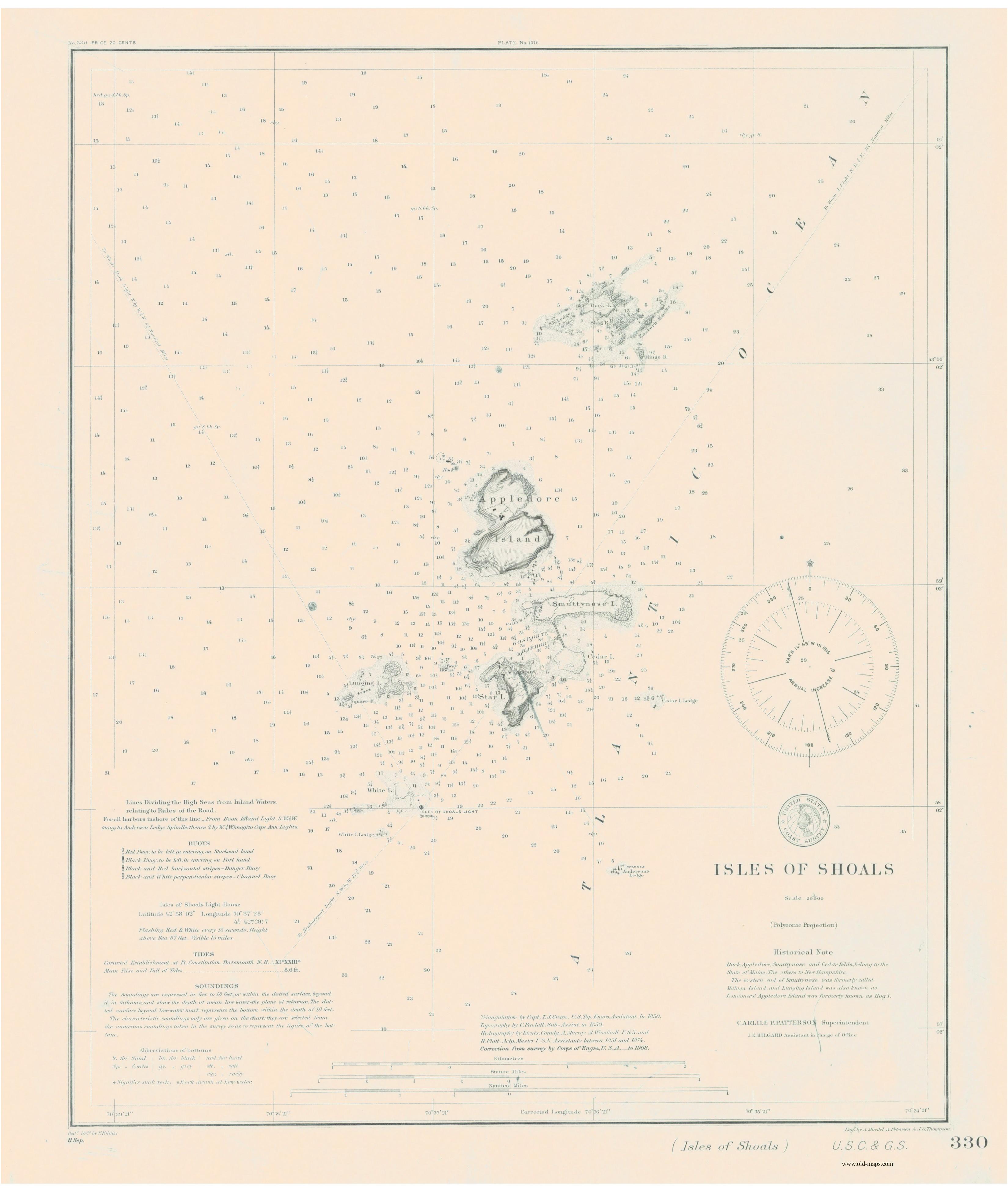 Isle of shoals maine map appledore island maine nubble portsmouth historical nautical charts of maine portsmouth nh to portland on appledore island maine nvjuhfo Image collections