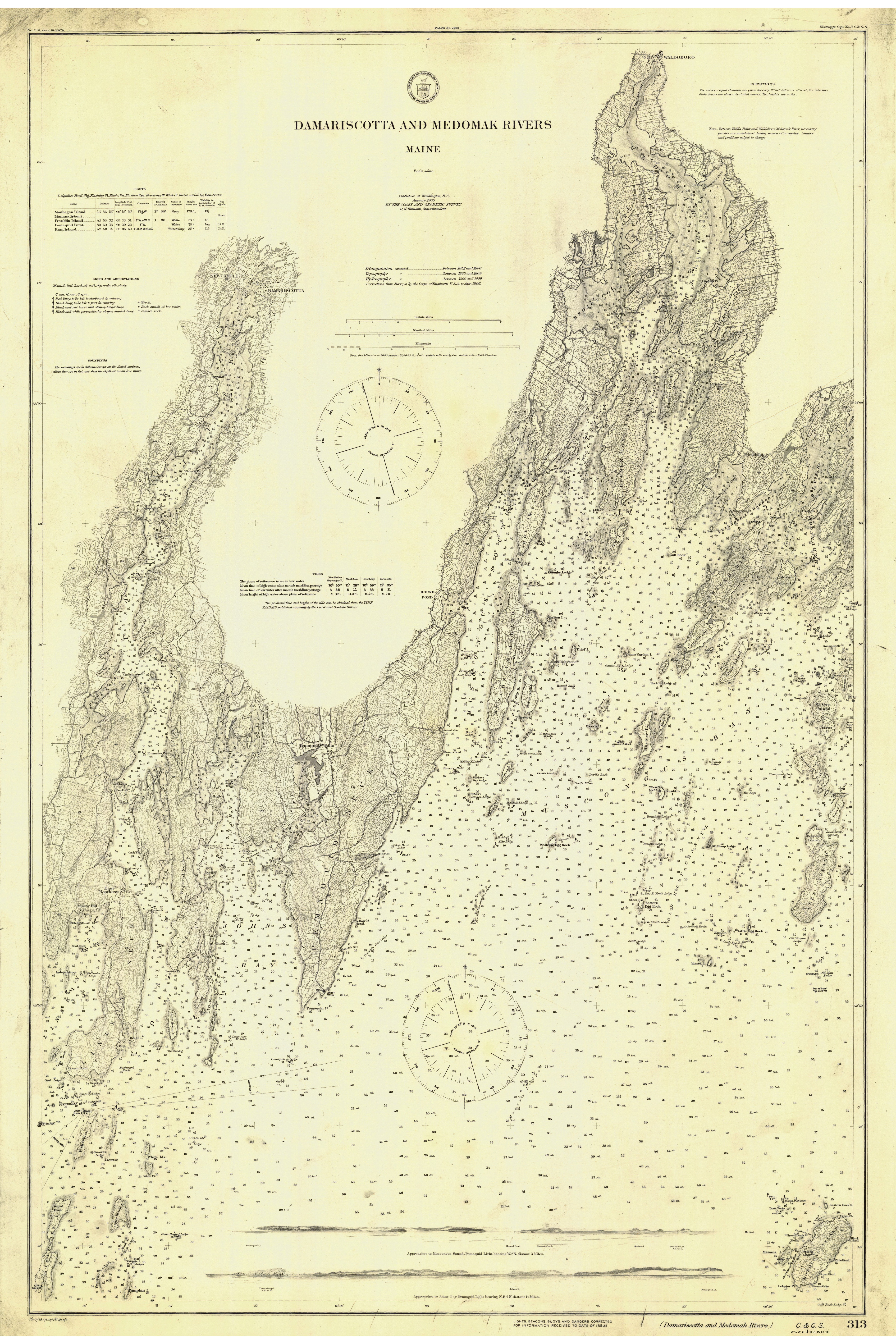 Historical Nautical Charts Of Maine Portland To Penobscot Bay - Map of maine rivers