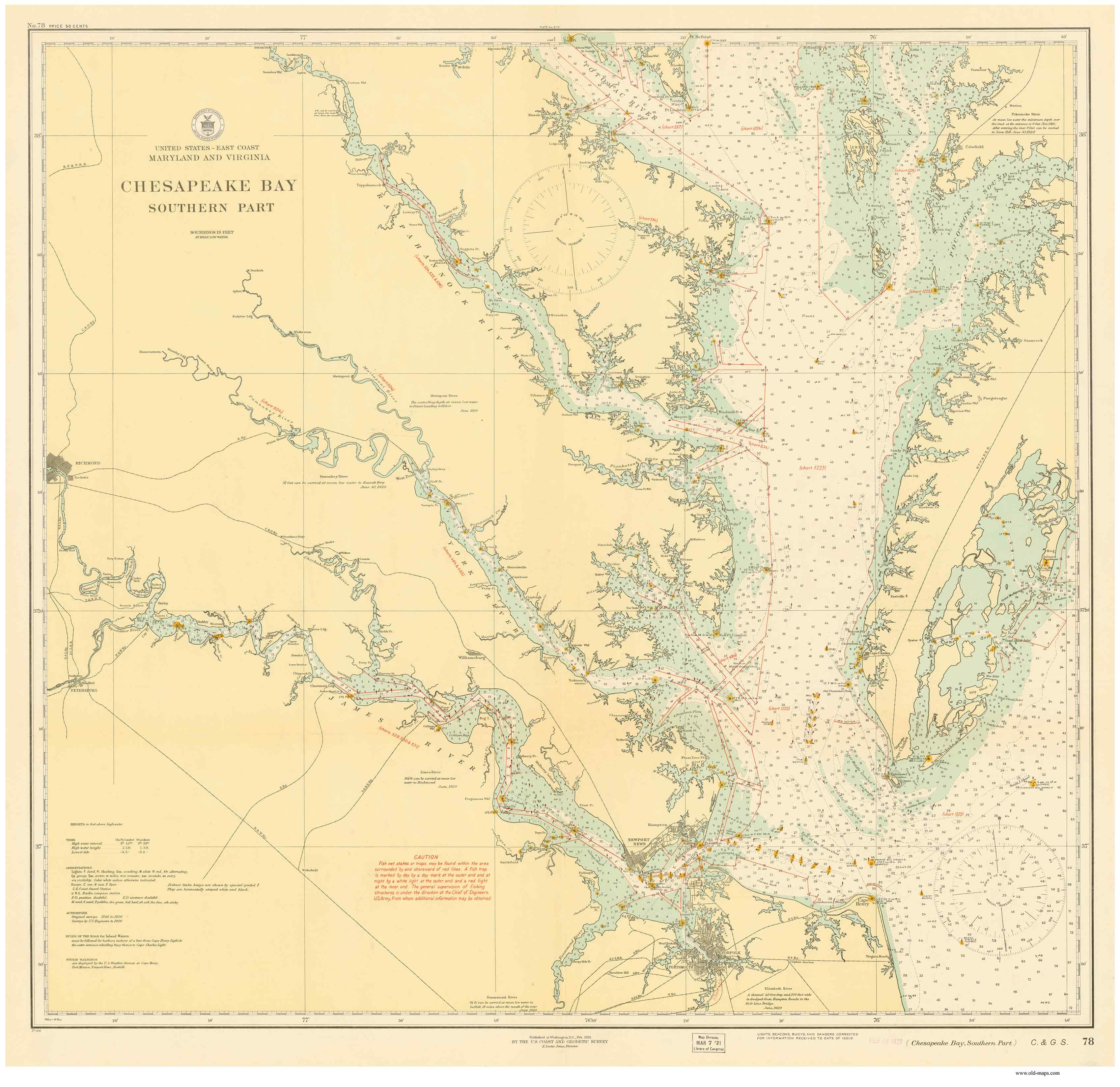 Historical Nautical Charts of the Southern Part of the Chesapeake Bay