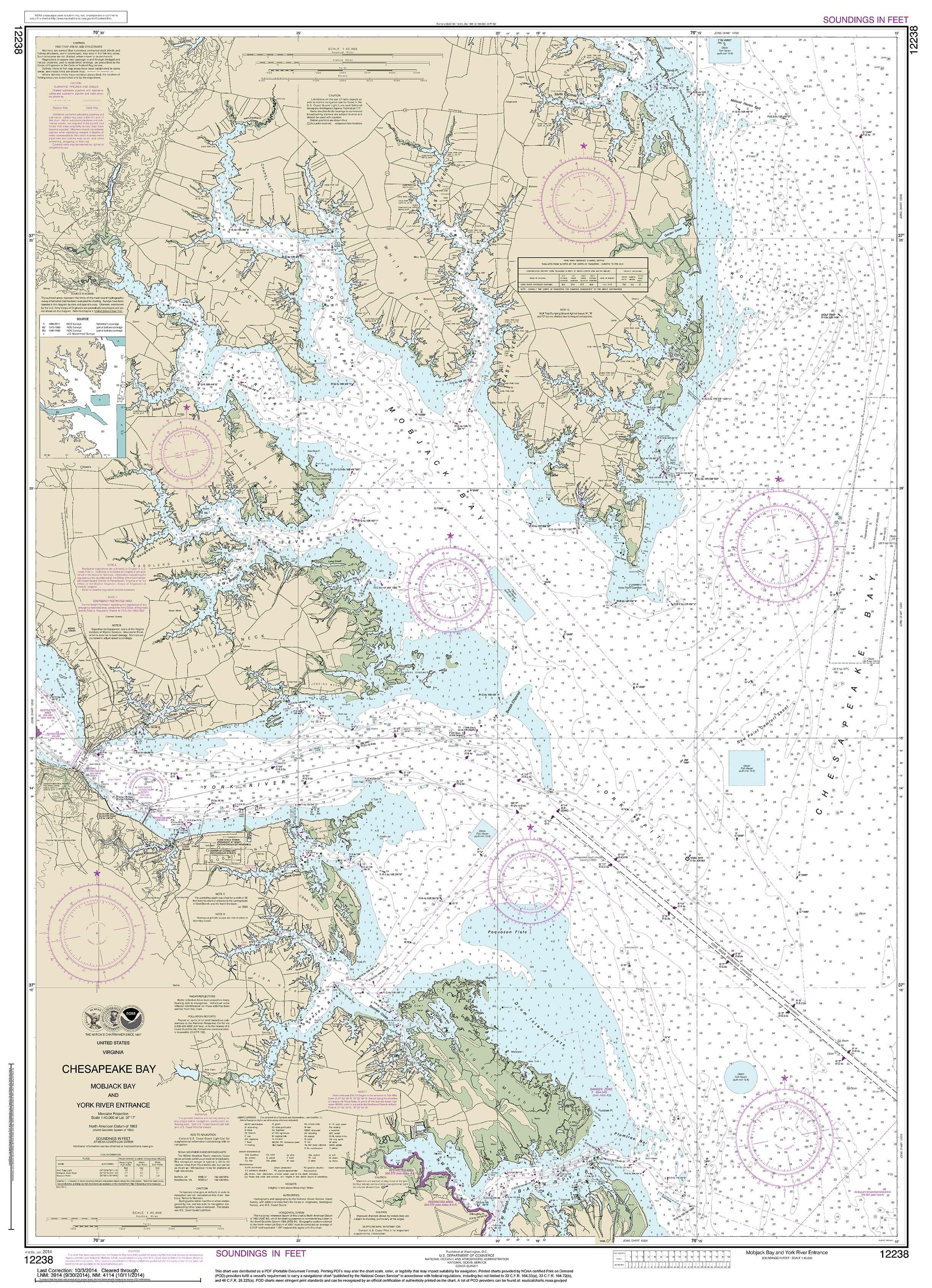 Modern Nautical Charts of the Chesapeake Bay