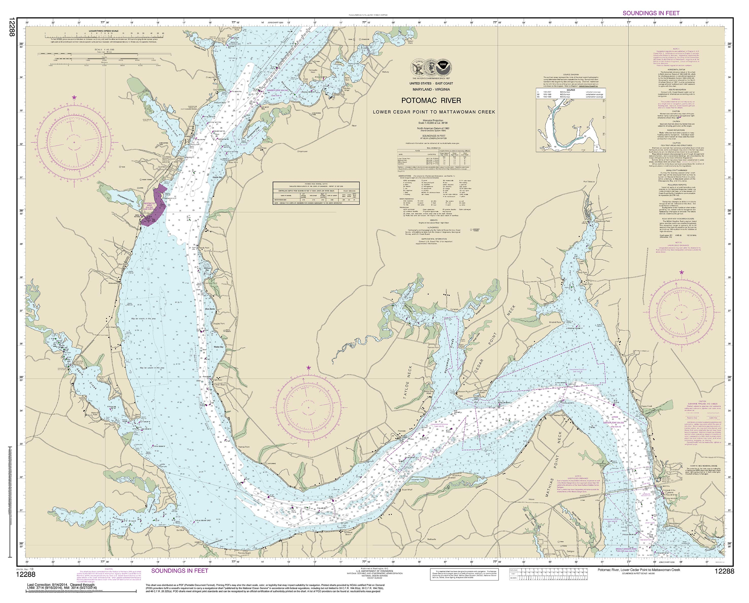 Modern Nautical Charts of the Chesapeake Bay