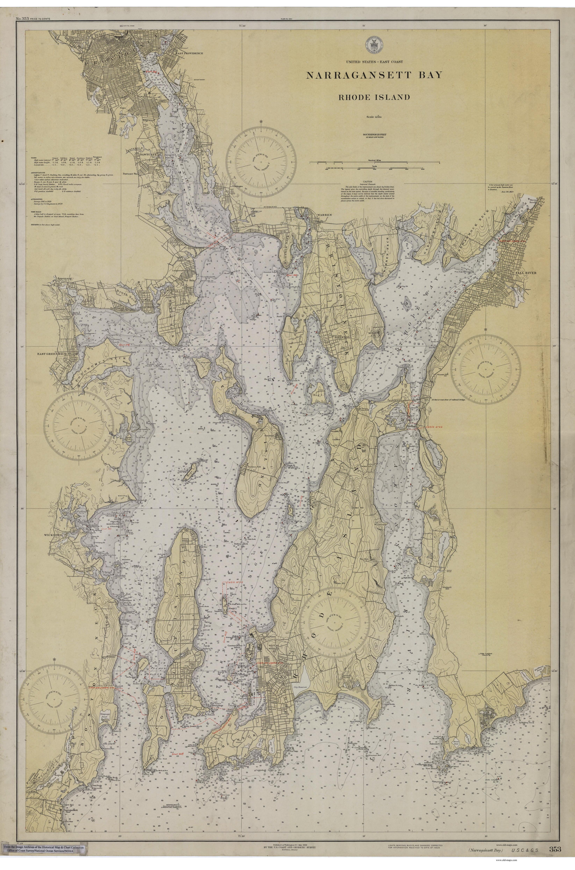 Nautical Chart Of Narragansett Bay 1930