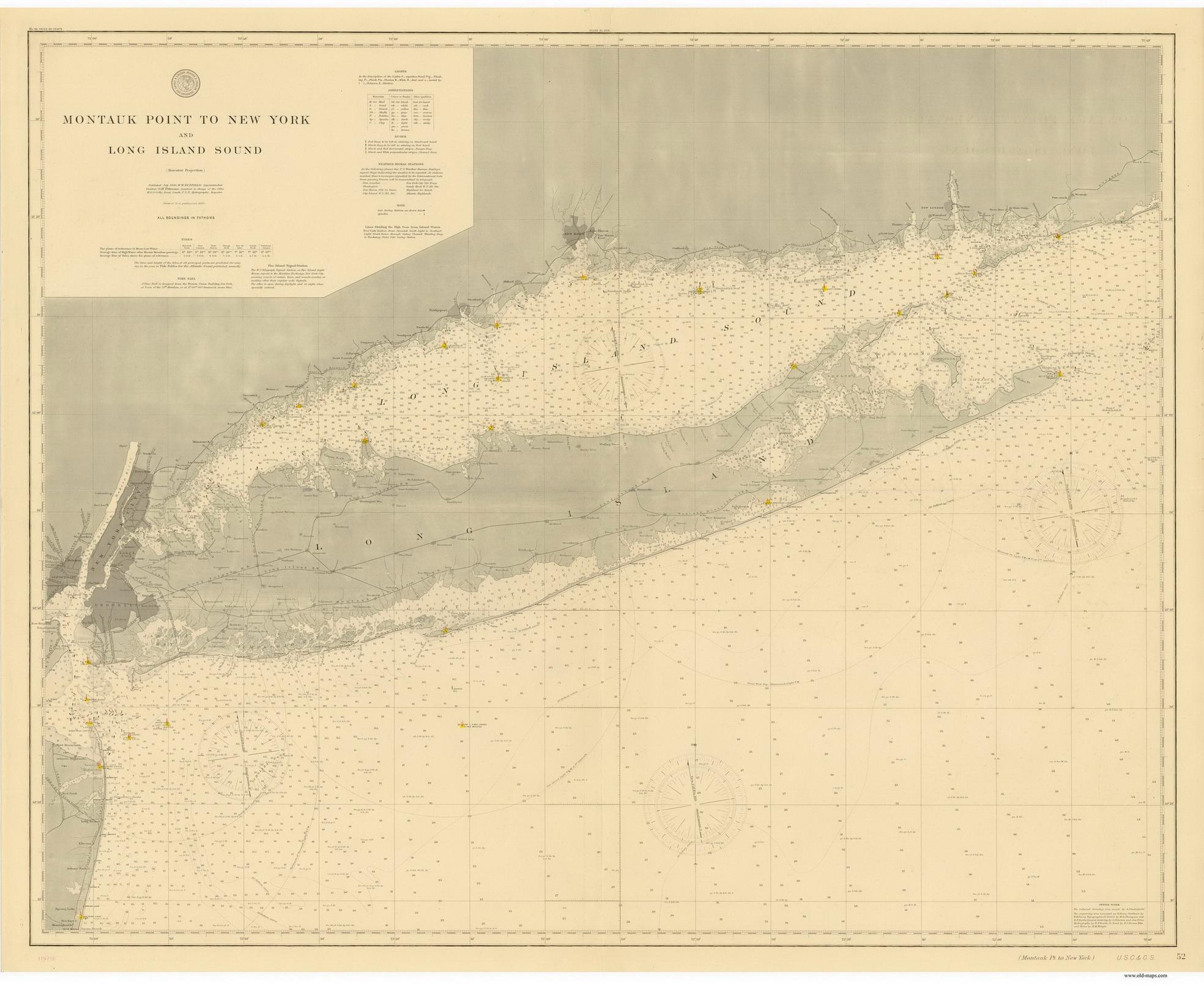 1896 Nautical Chart Of Long Island