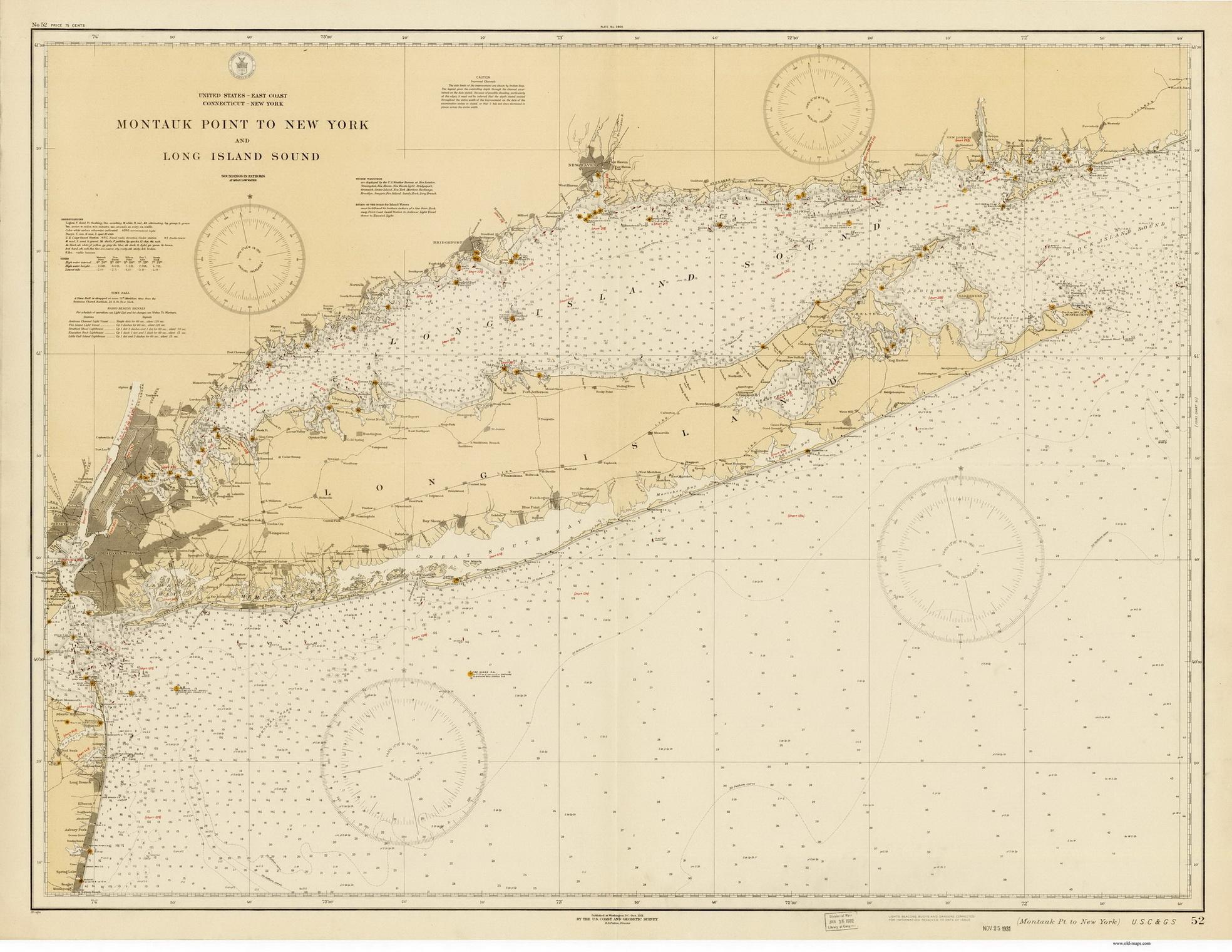 1898 Nautical Map North Shore of Long Island Sound NY