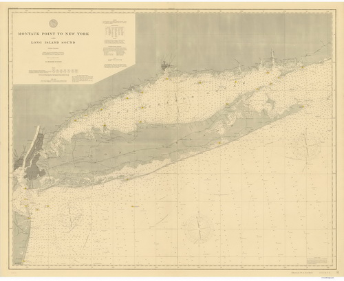 1896 Nautical Chart of Long Island