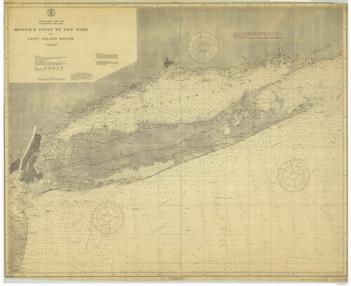 1915 Nautical Chart of Long Island