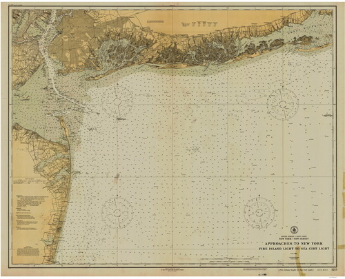 1925 Nautical Chart of New York City