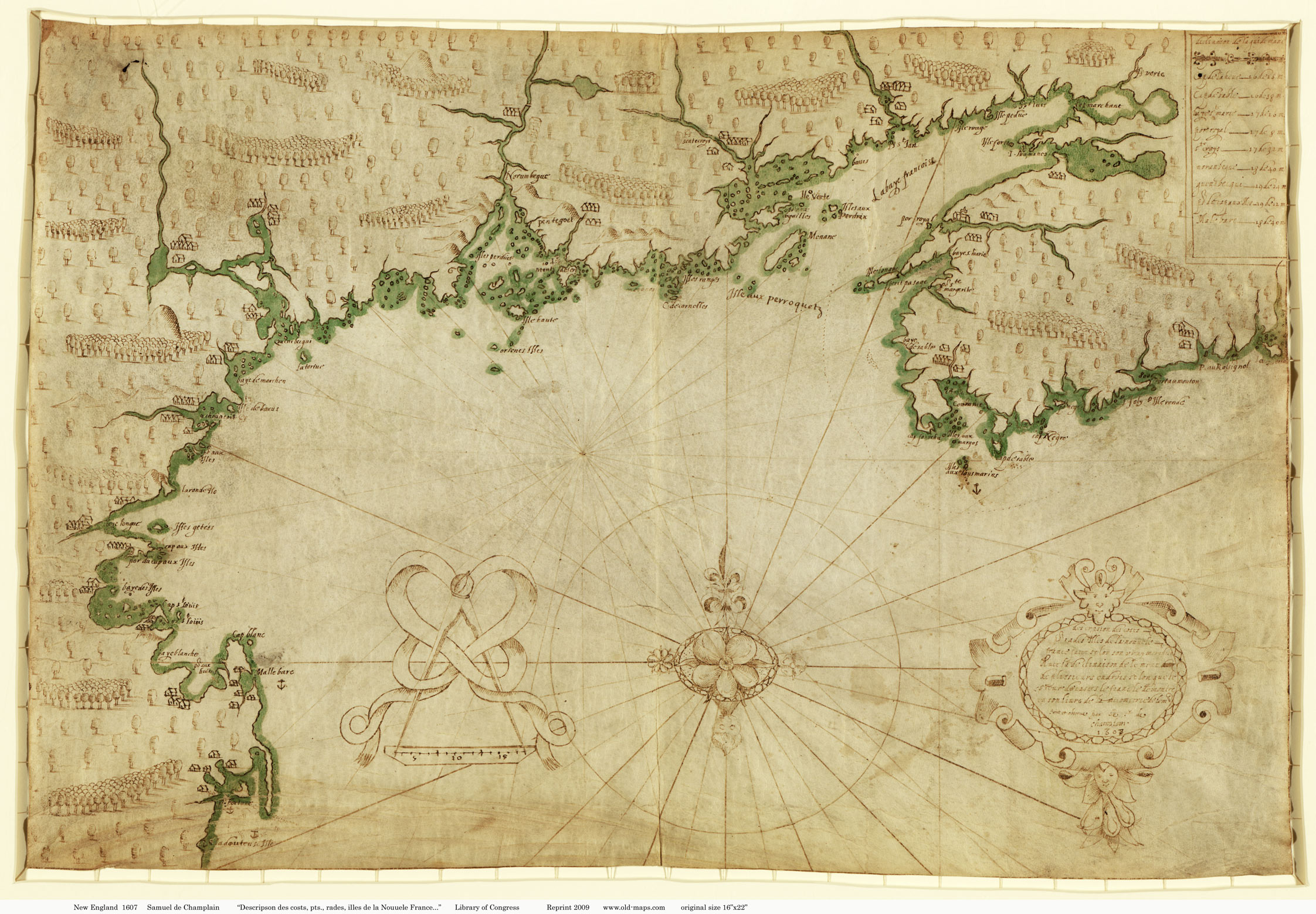 Old New England Map.1607 Samuel De Champlain New England Map