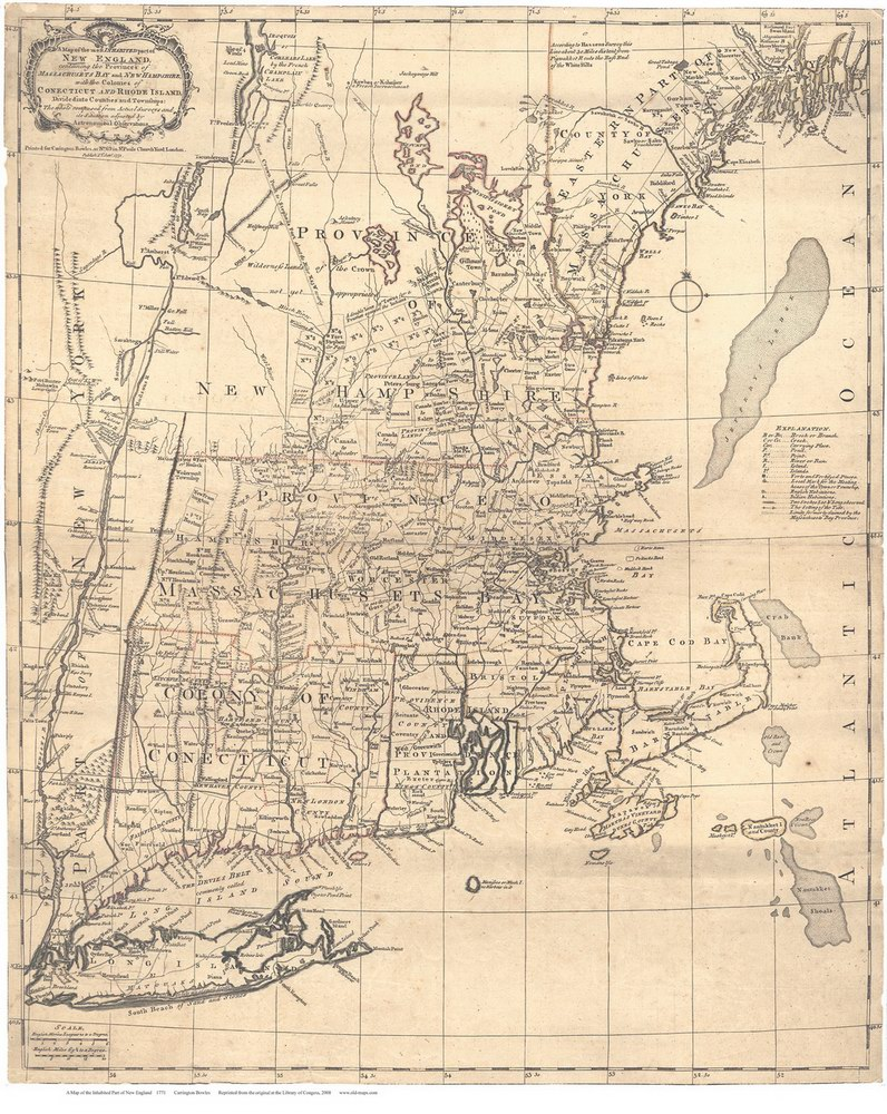 Old New England Map.1771 Bowles