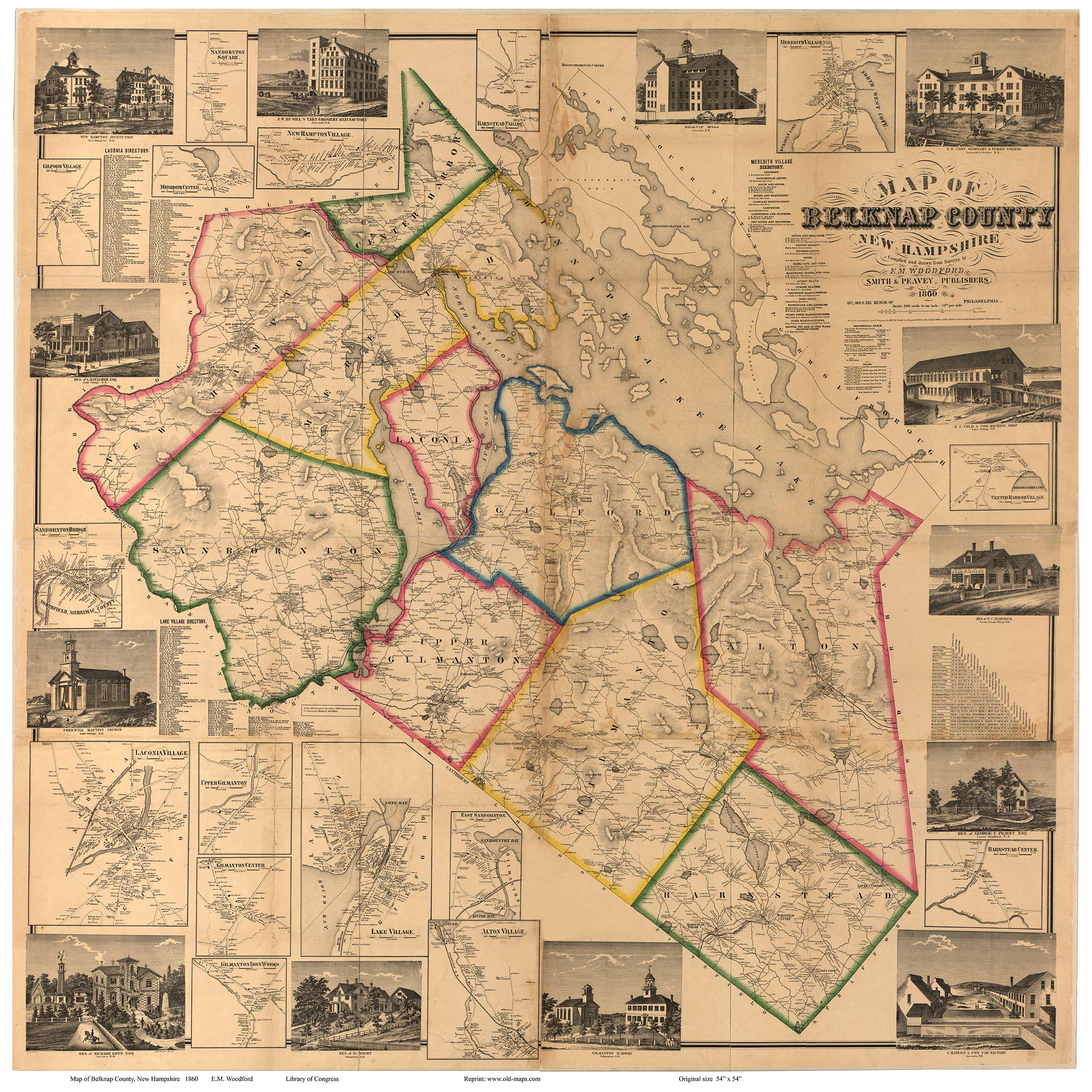 Early Wall Maps Of Belknap County NH Original Map - Old map shop