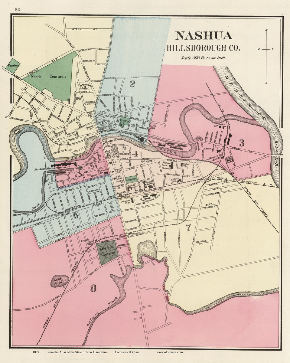 NH Atlas City Prints - Old state maps for sale
