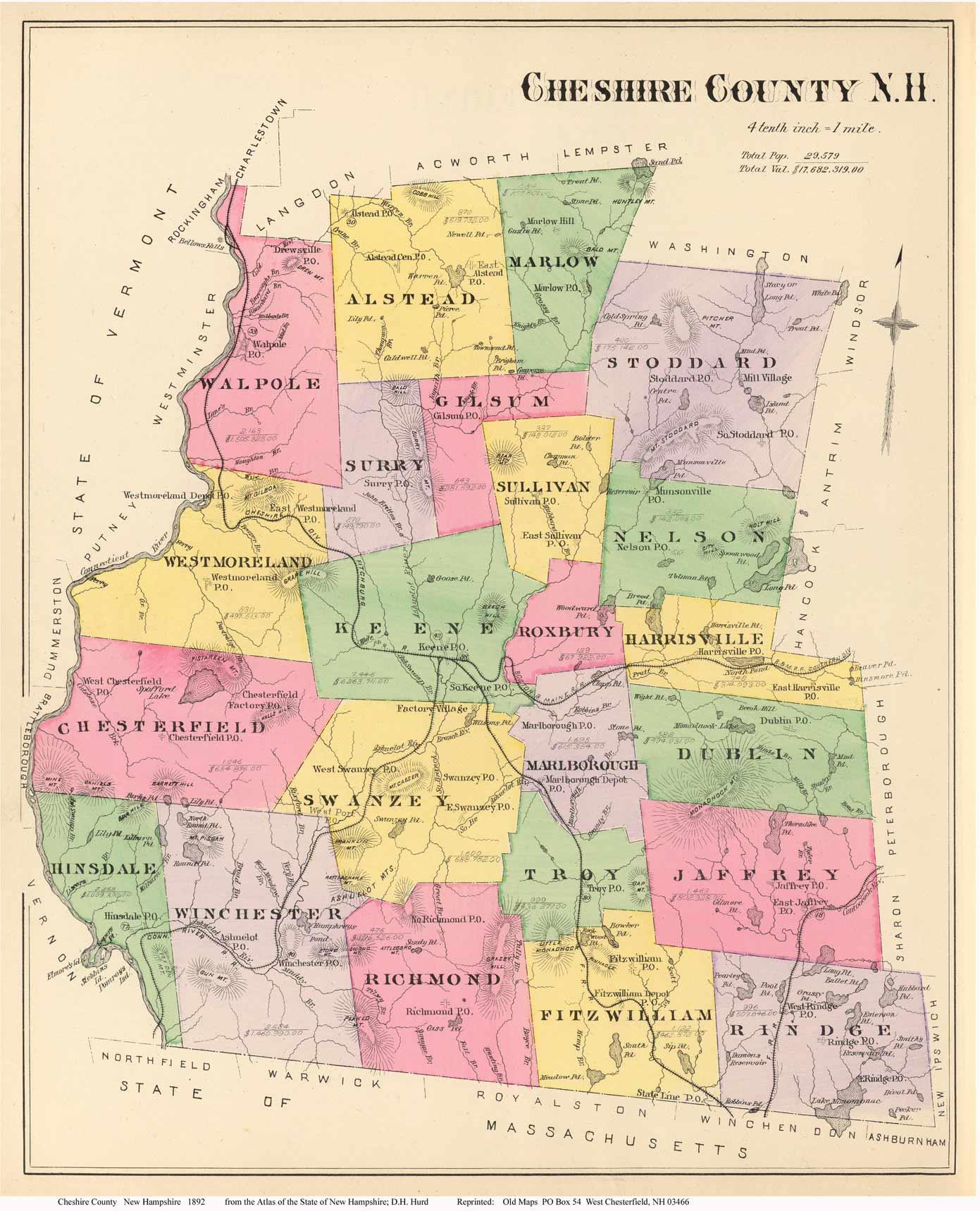 Cheshire County Map - New hampshire counties map