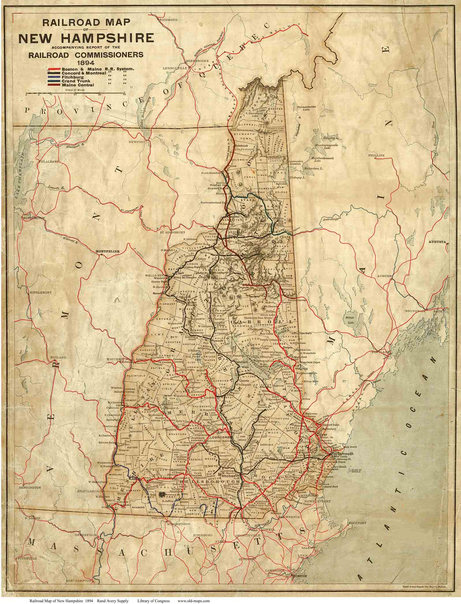 Railroad Map Of NH - Map of new hampshire towns