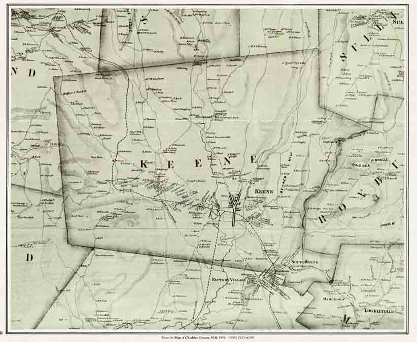 Map Of Cheshire County Nh 1858 Cd Table Contents: Map Of Cheshire County Nh At Slyspyder.com