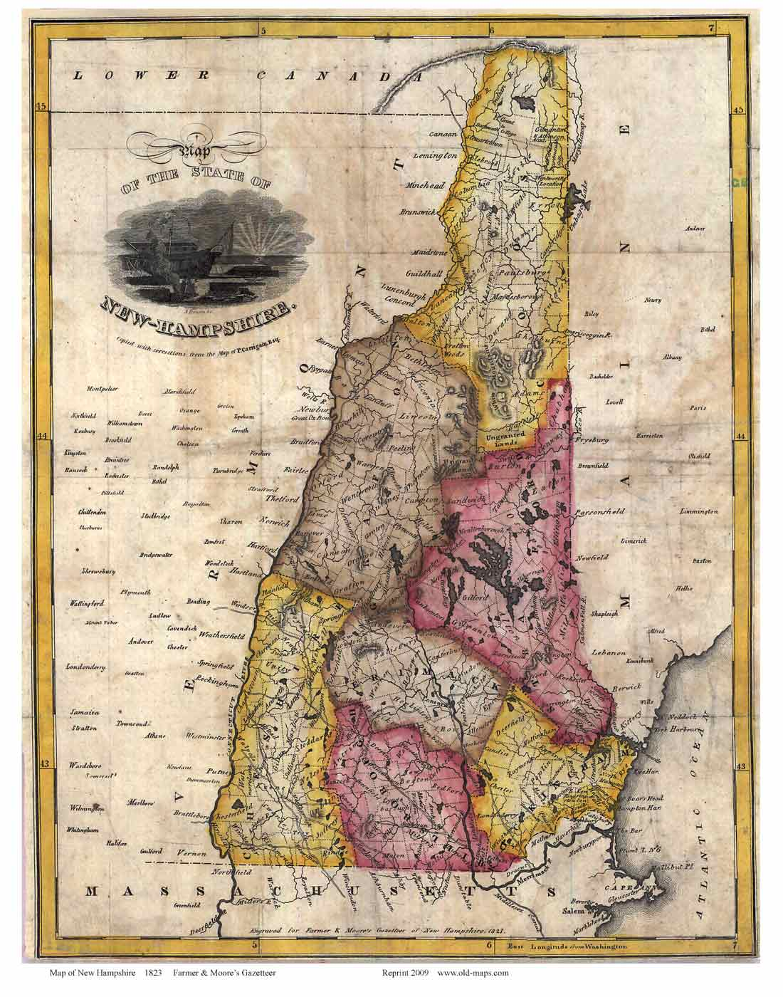 Old State Map Of Nh 1823 Farmer Moore