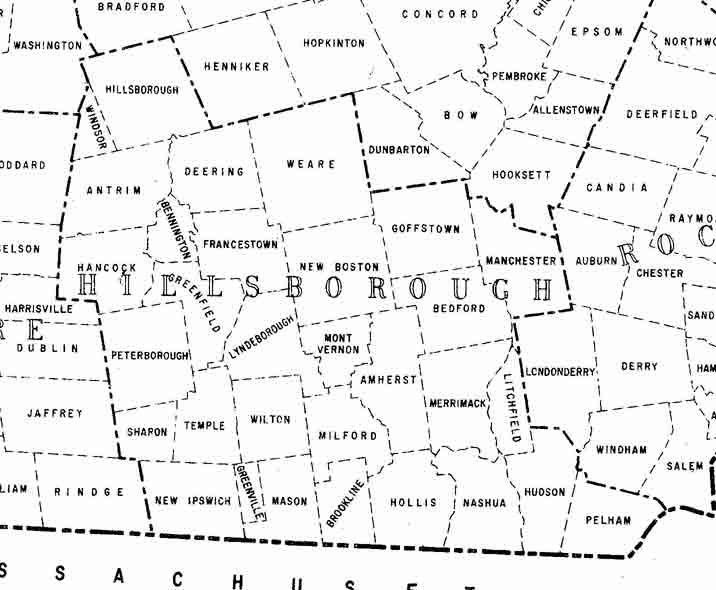 Old Maps Of Hillsboro County NH - Map of new hampshire towns
