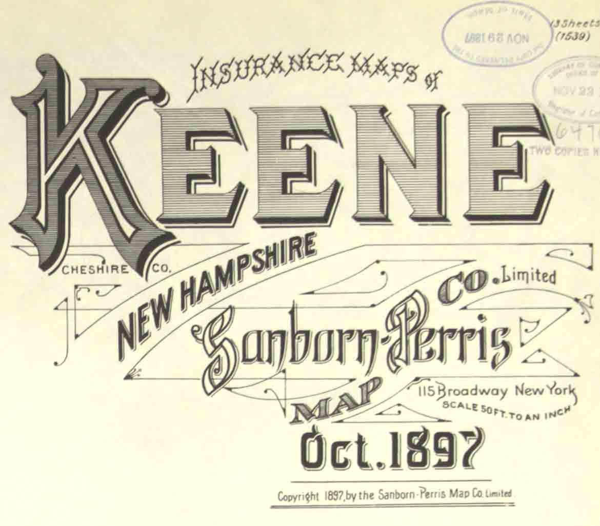 Fire Insurance Maps of Keene, NH 1884-1908 on newburyport nh map, hooksett nh map, mansfield nh map, buffalo nh map, keene new hampshire, lancaster nh map, peabody nh map, nh state road map, plymouth nh map, westminster nh map, manchester nh on map, connecticut new england map, brattleboro nh map, franklin nh map, walpole nh map, methuen nh map, cheshire nh map, jacksonville nh map, peterborough nh map, monadnock mountain nh map,