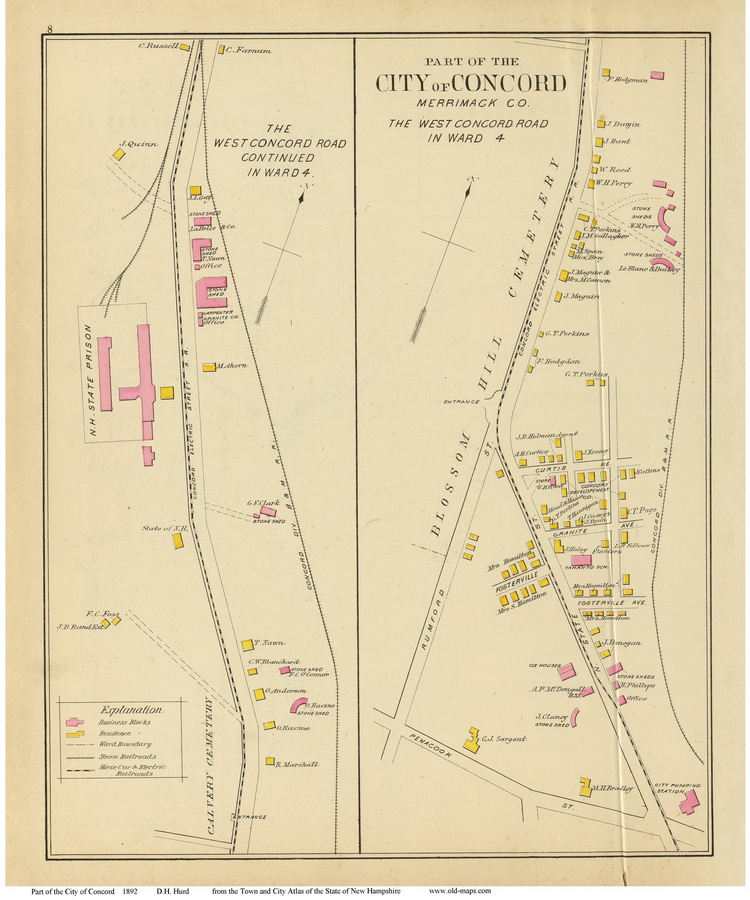 Old Maps Of Concord NH - Road map of nh