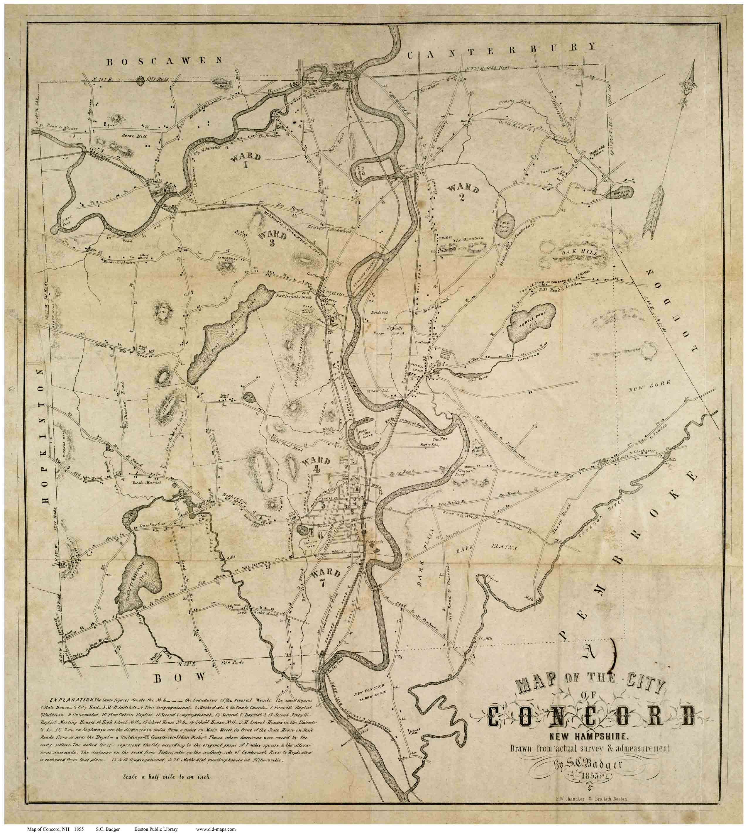 Old maps of Concord, NH
