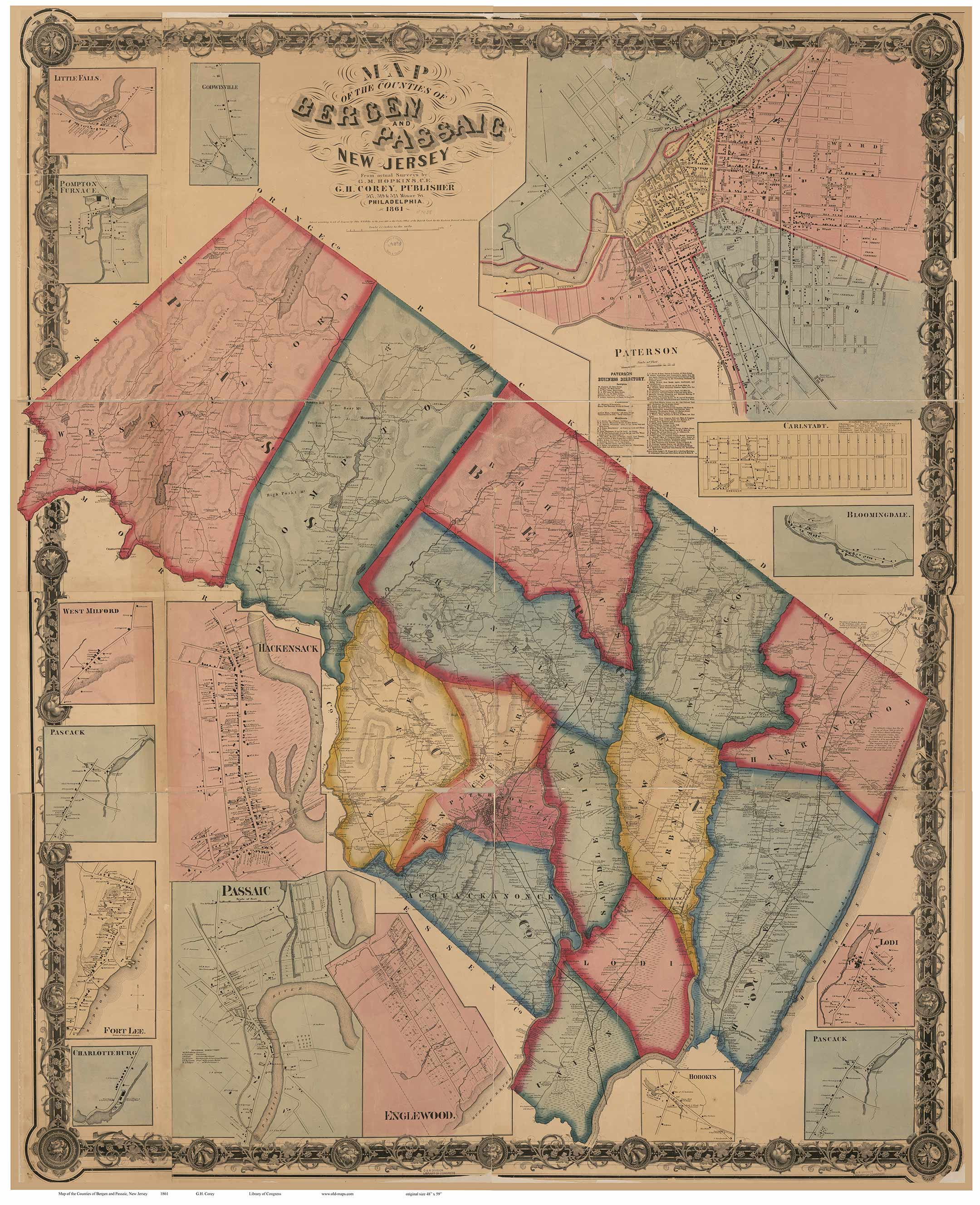 New Jersey County Maps - Map of bergen county nj