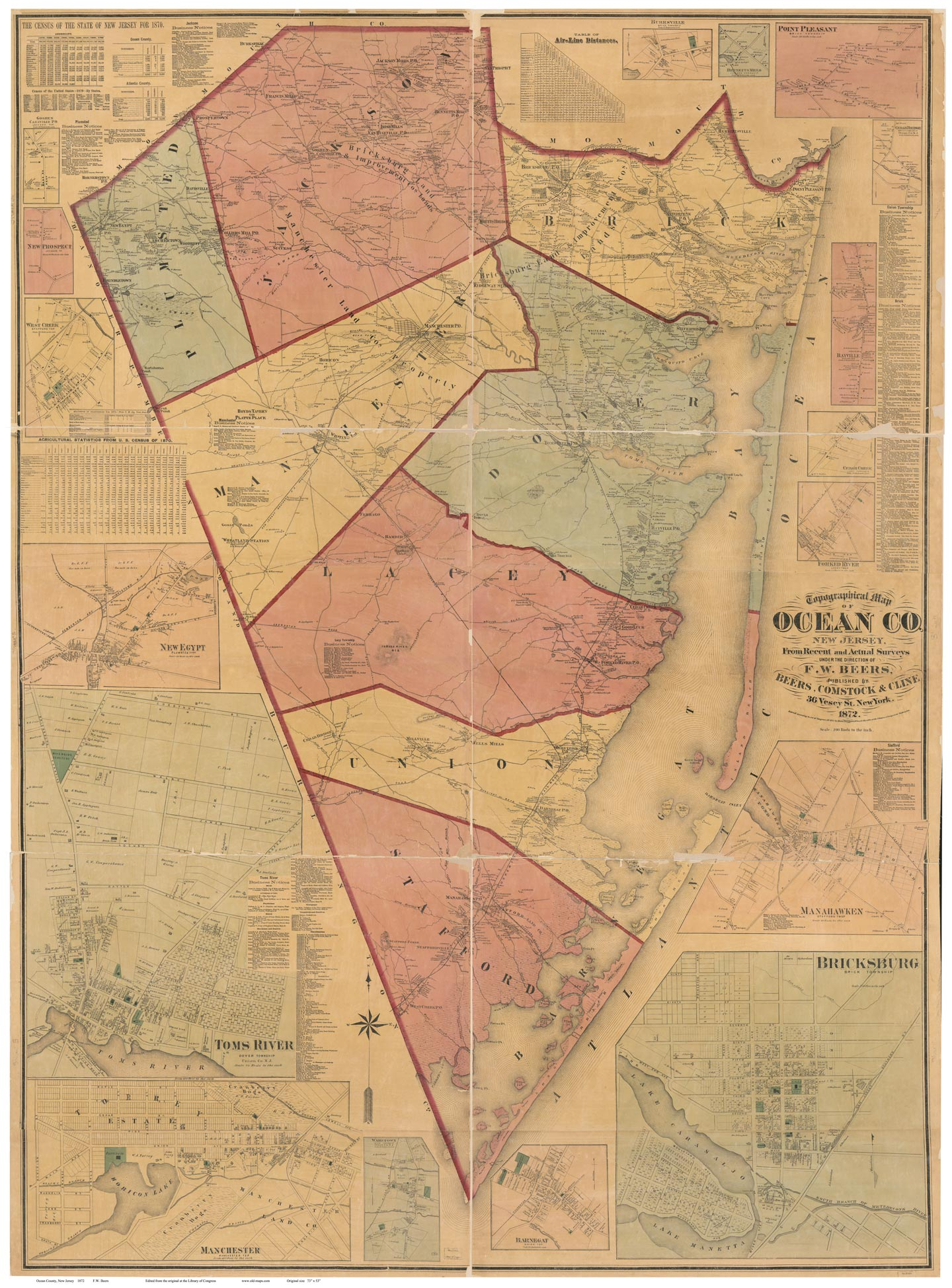 Map Of Ocean County NJ 1872