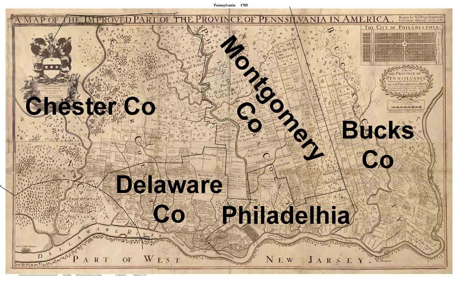 Old Map Of Philadelphia PA 1681 Thomas Holme