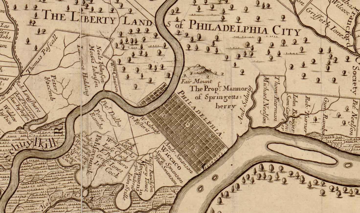 Old Map of Philadelphia PA, 1681 Thomas Holme