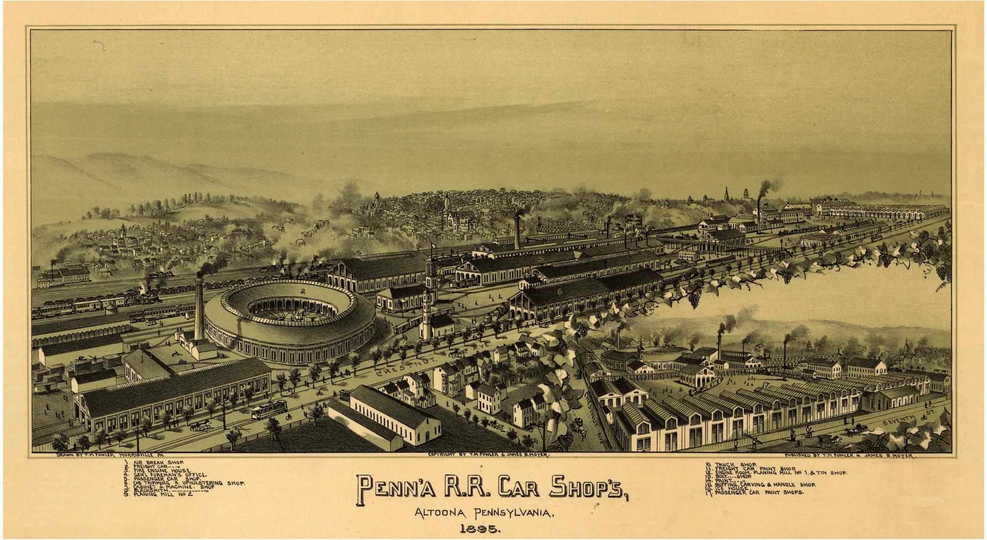 Altoona1895RRShops Pennsylvania Birdu0027s Eye Views