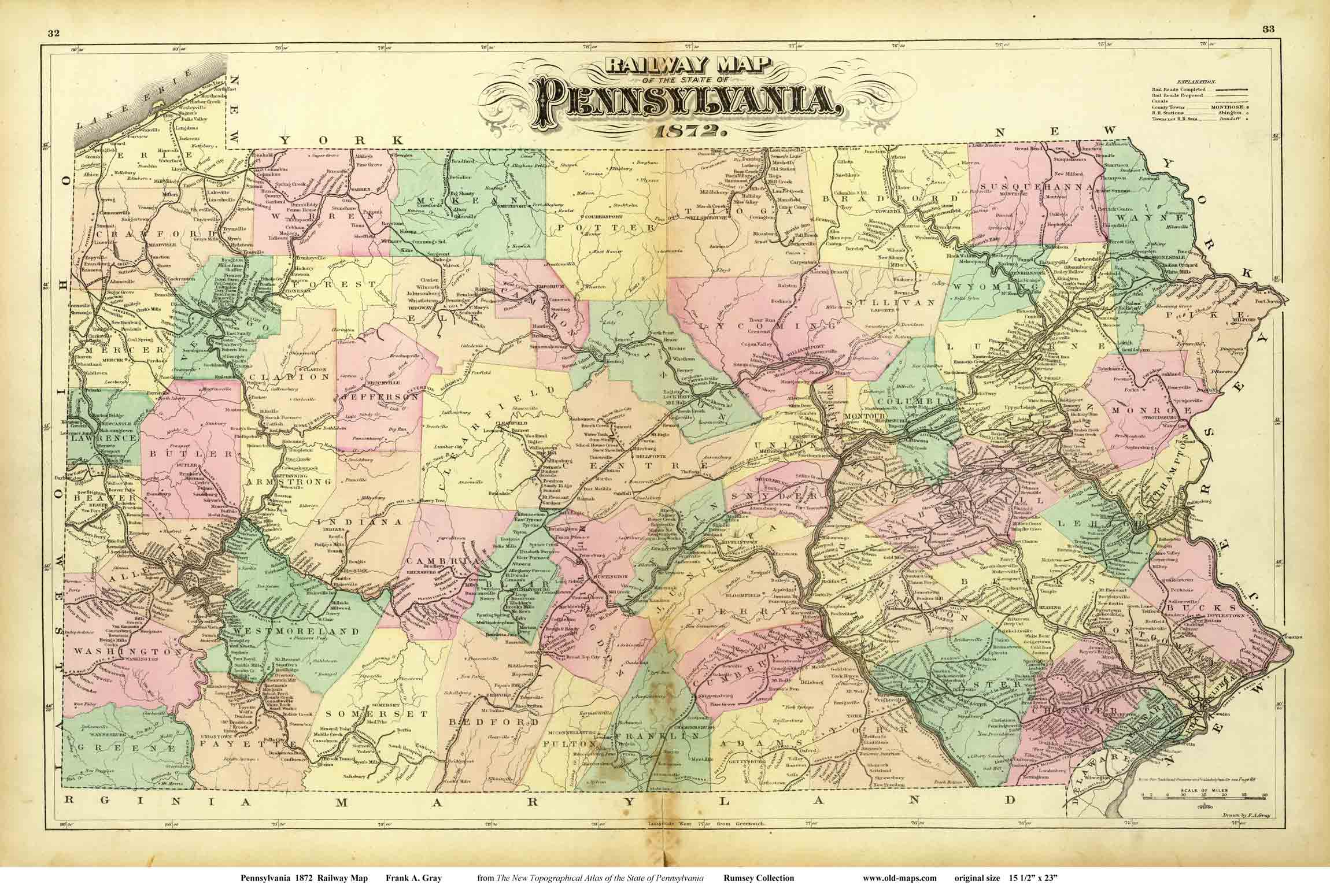walling  gray railway map of pennsylvania . old maps of pennsylvania