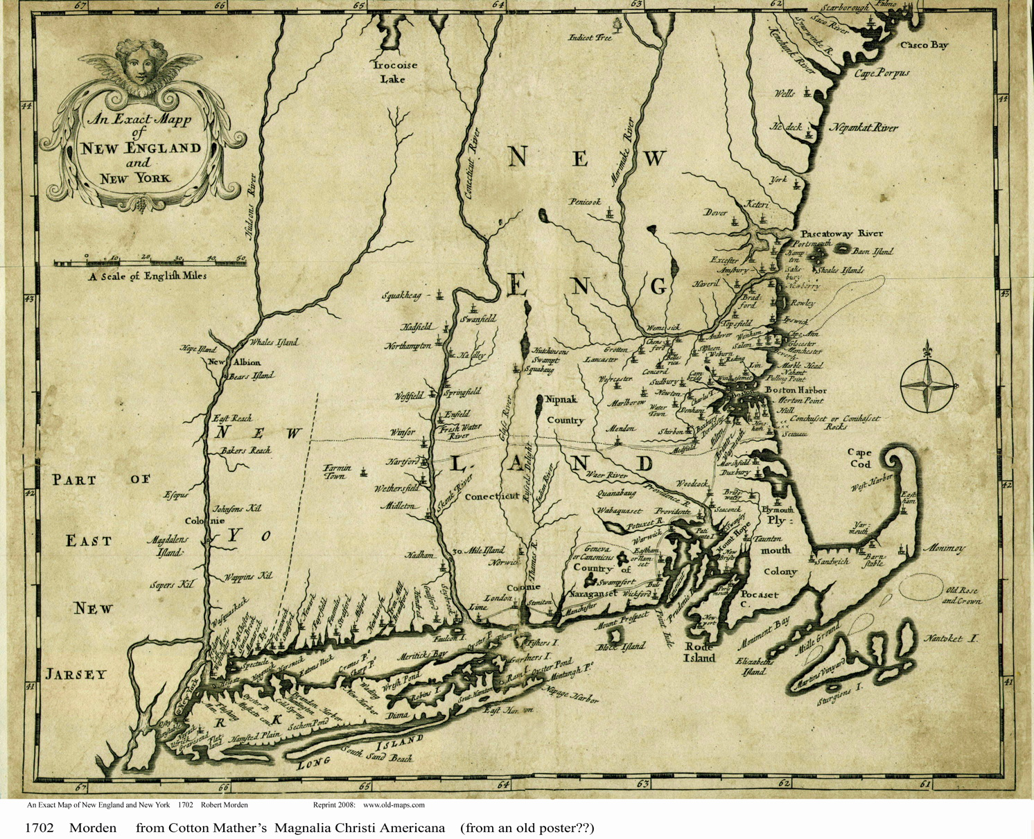 Old New England Map.Town Maps