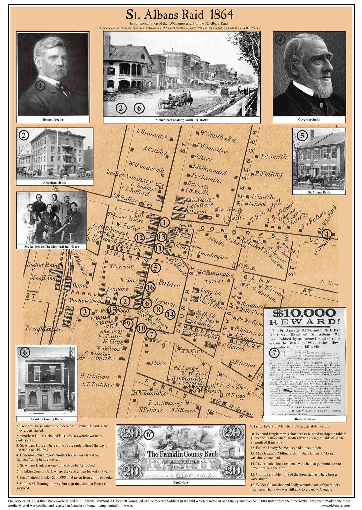 New Map St Albans Raid 1864 Old