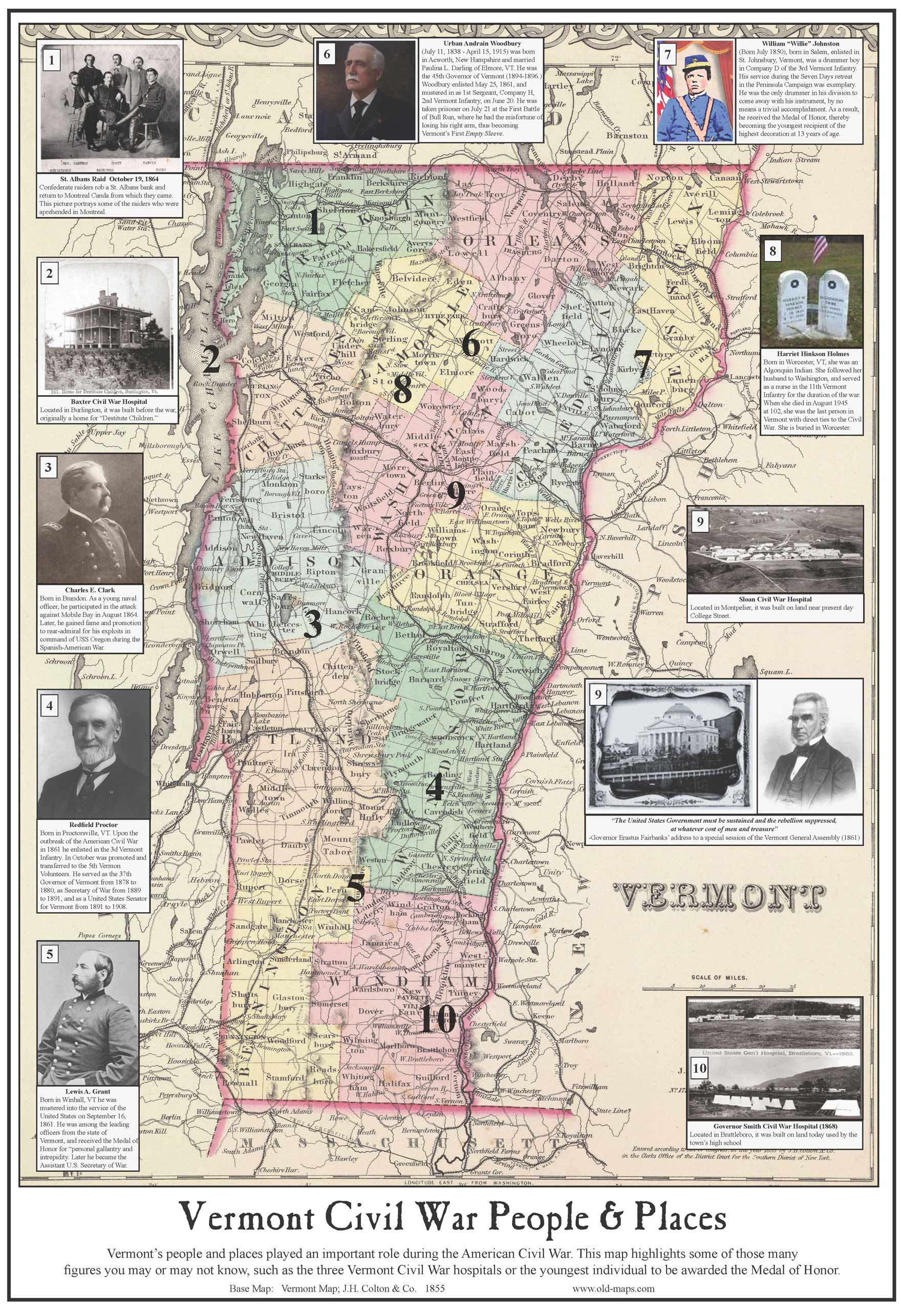 Old Vermont County Maps 1850s CD & Paper on