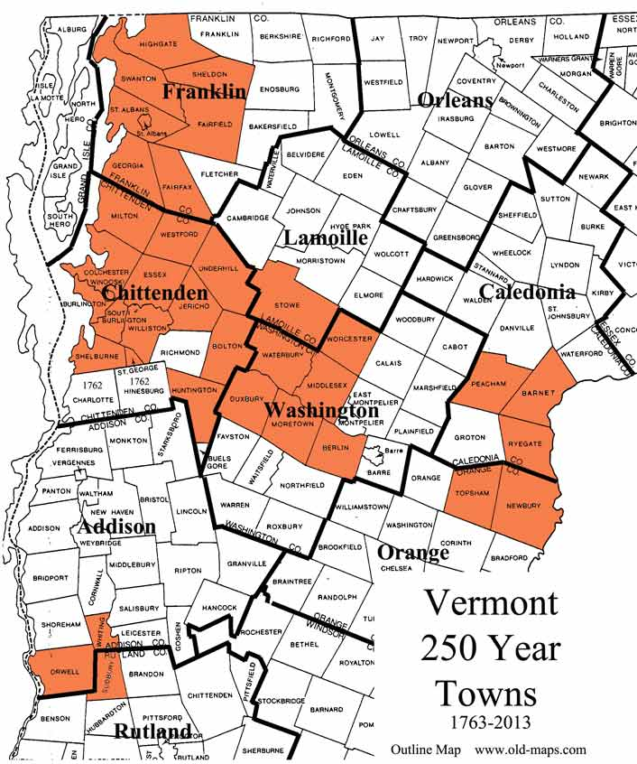 Vermont Census Maps - Map of vt towns