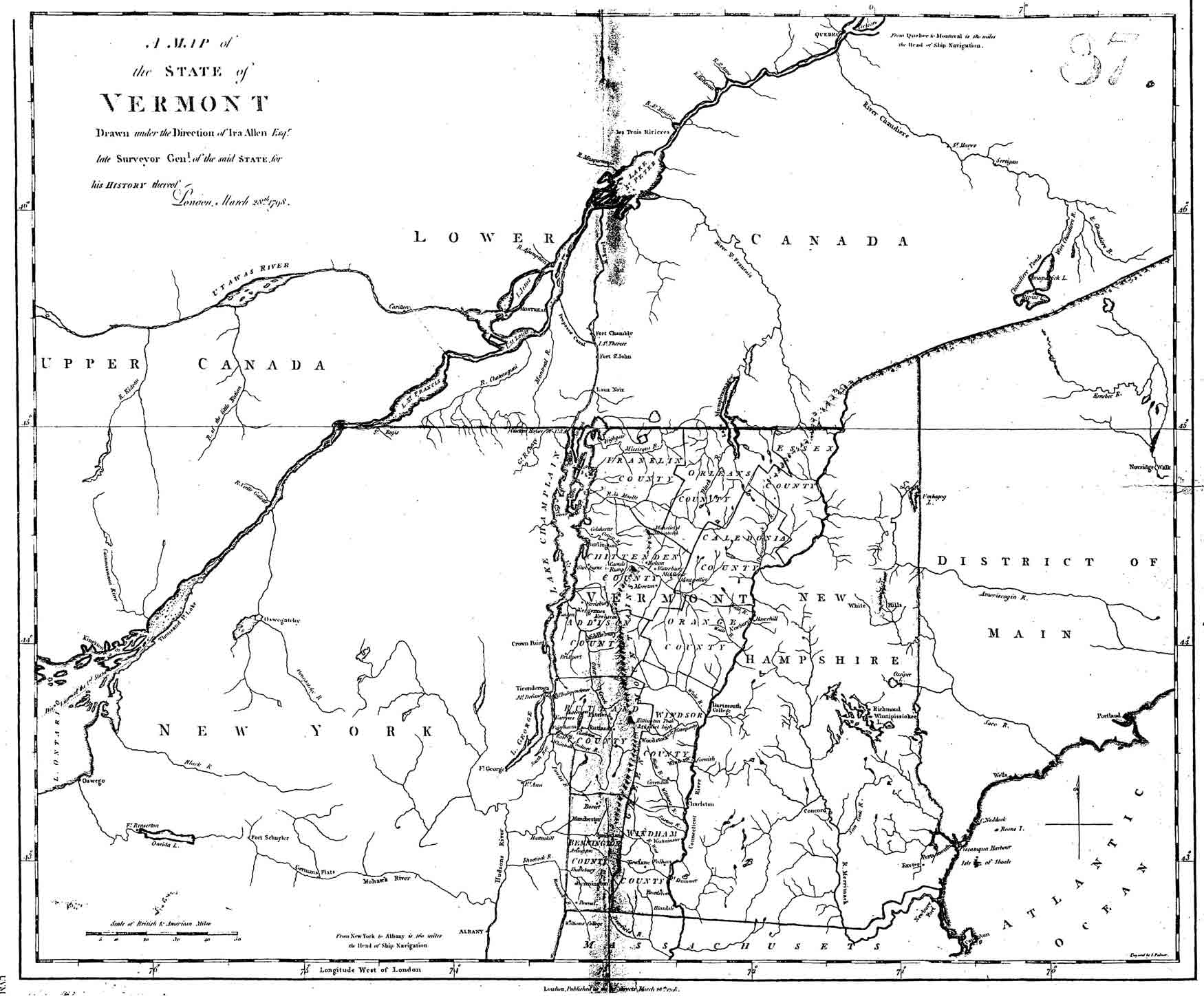 Ira Allens Map Of Vermont - New york vermont map