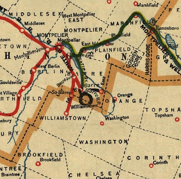 Corinth Washington Map.Coffin S Railroad Map Of Vermont 1896