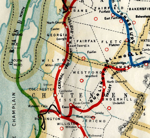 Official Railroad Map Of Vermont 1902