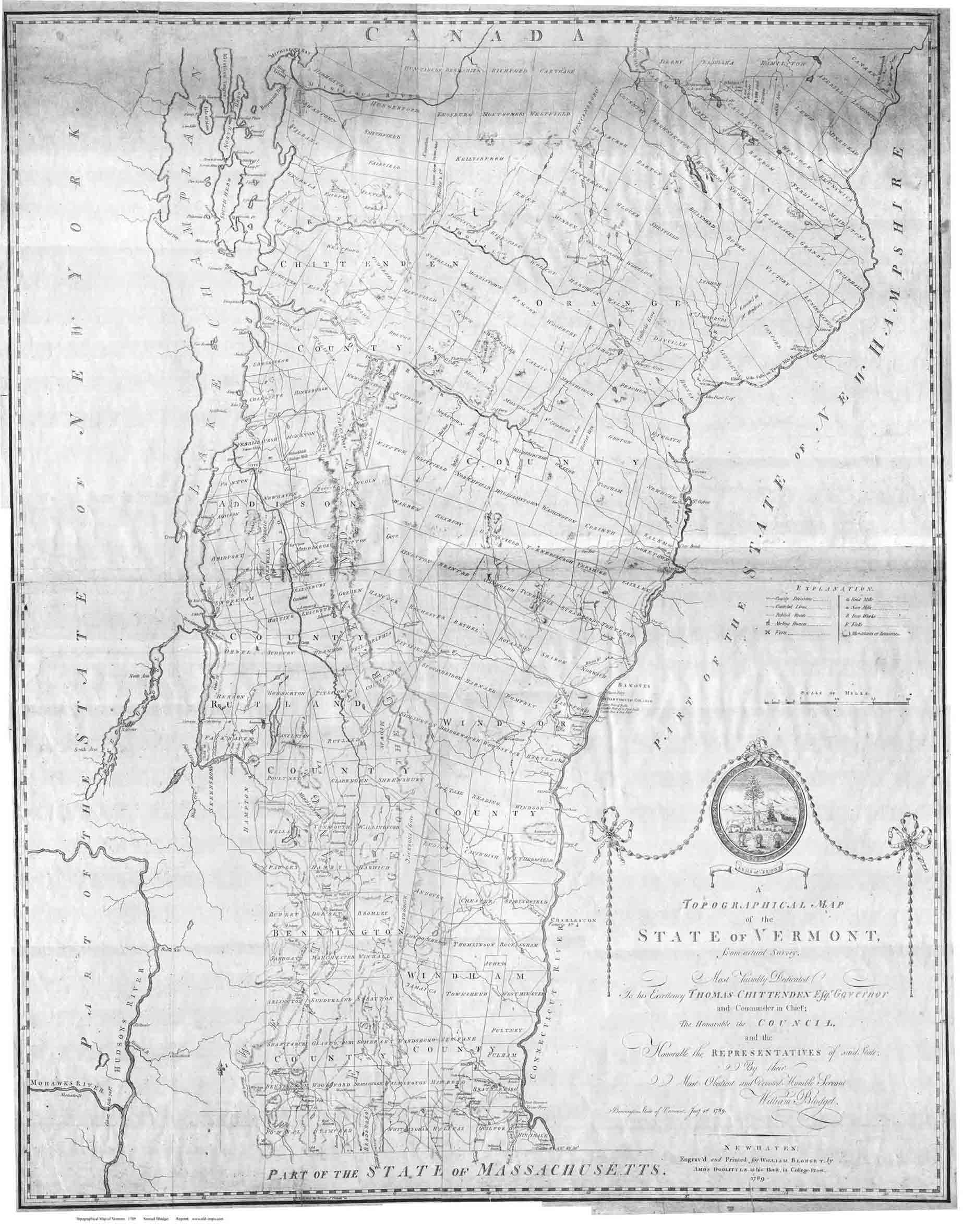 Blodget\'s Map of Vermont, 1789
