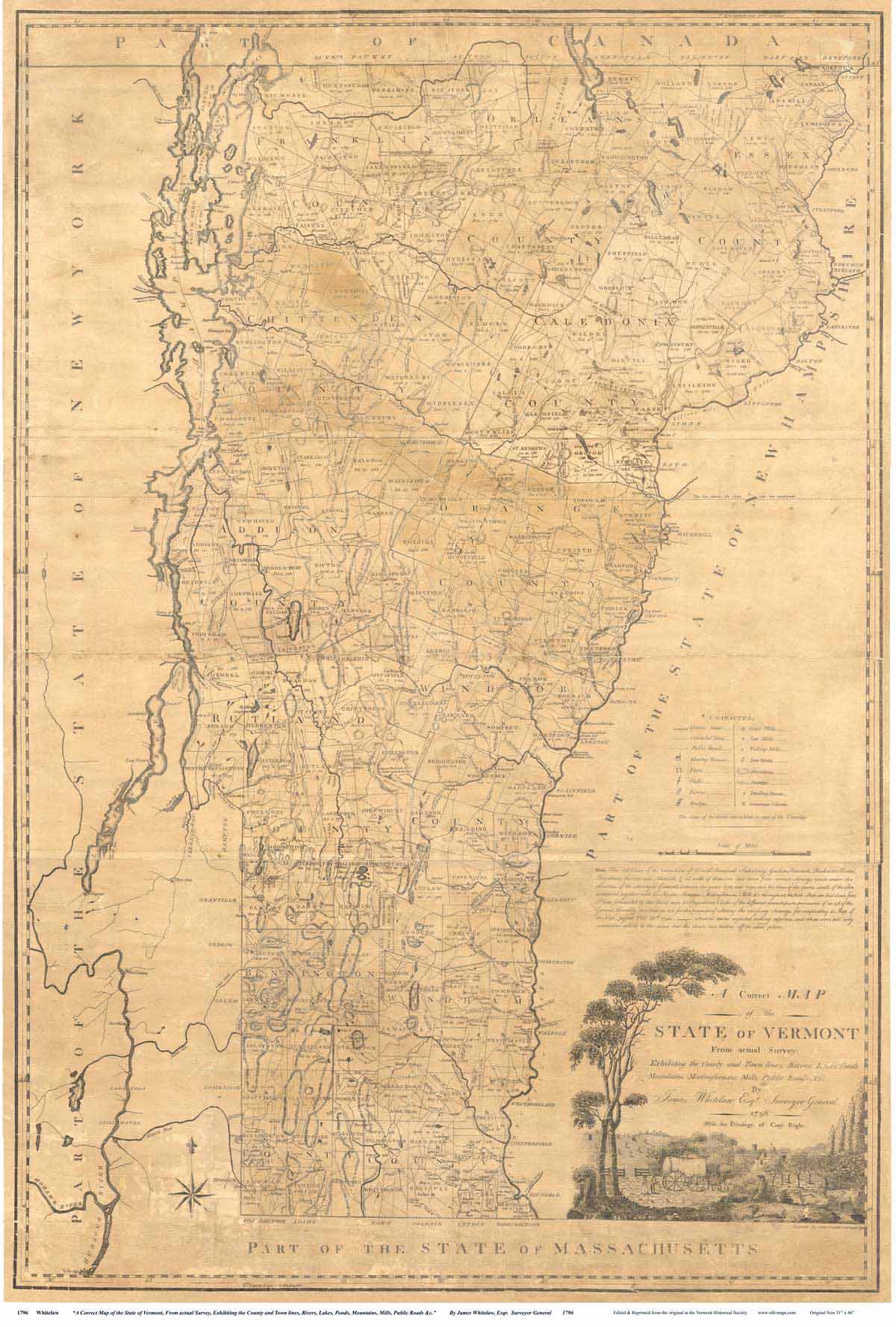 Whitelaw\'s Map of Vermont, 1796