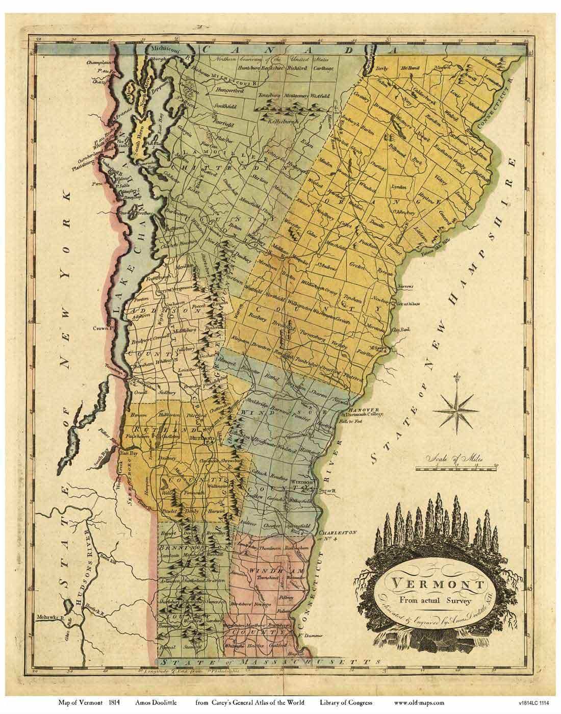 Doolittle Map of Vermont, 1814