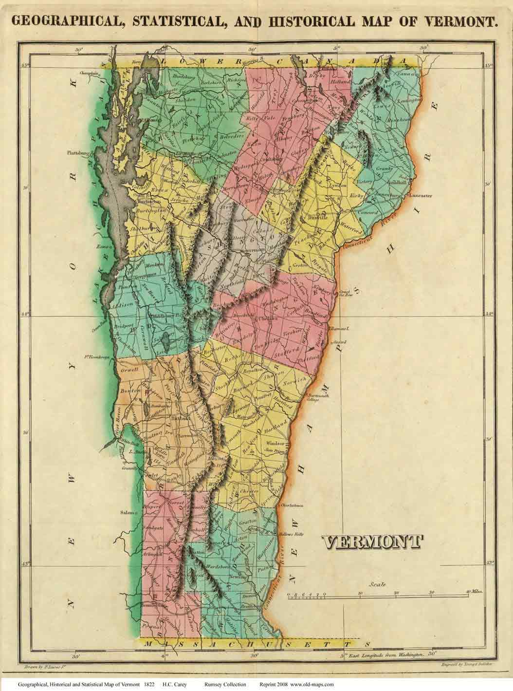 Carey39s Map Of Vermont 1822
