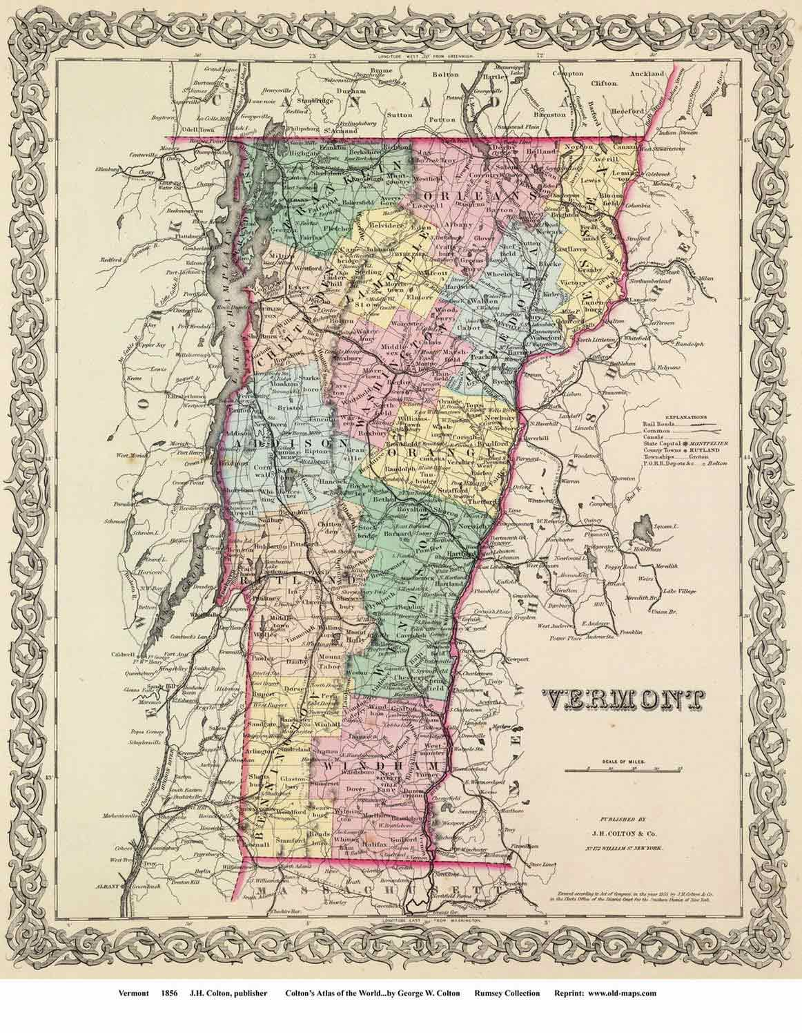 Coltons Map of Vermont 1856
