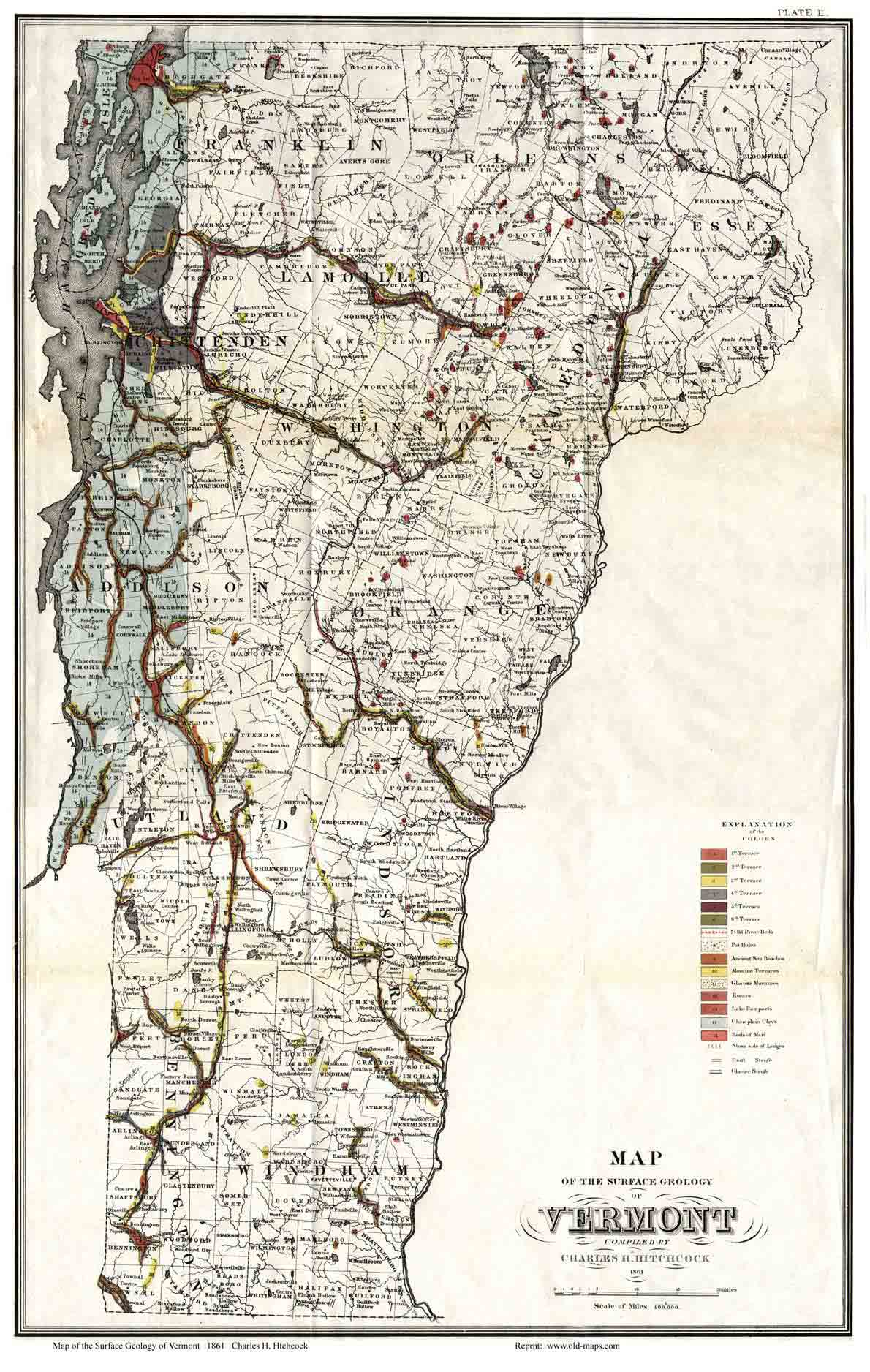 geological vt state map. whitelaw's map of vermont