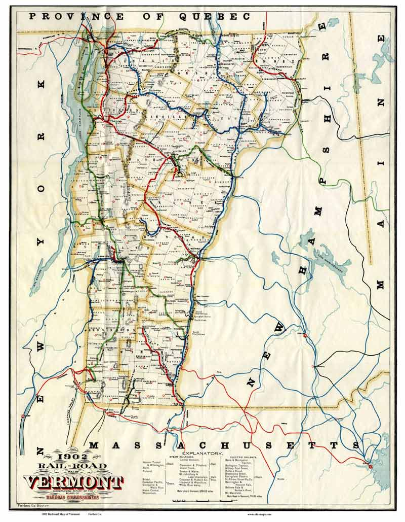 Official Railroad Map of Vermont, 1902