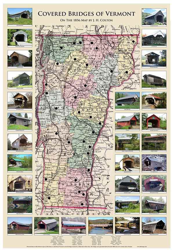 map of vermont covered bridges Coffin S Railroad Map Of Vermont 1896 map of vermont covered bridges