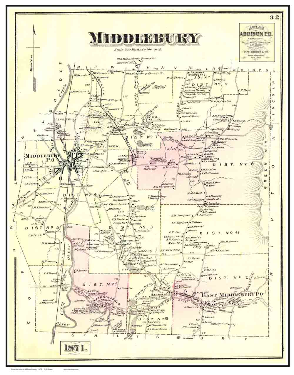 1871 Beers Atlas Poster Map - Middlebury VT - Color Reprints